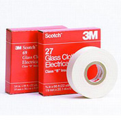 "3m™ Scotch® Glass Cloth Electrical Tape 69-1"" X 36yd, White - Pkg Qty 9"