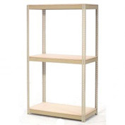 "Expandable Starter Rack 48""W x 12""D x 84""H Tan With 3 Level Wood Deck 1500lb Cap Per Level"