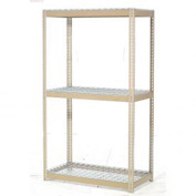 "Expandable Starter Rack 96""W x 24""D x 84""H Tan With 3 Level Wire Deck 800lb Cap Per Level"