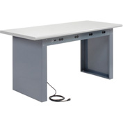 """72""""W x 30""""D Panel Leg Workbench With Power Apron and Plastic Laminate Safety Edge Top"""