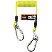 Ergodyne® 19130 Squids® 3130S Coiled Cable Lanyard, 2 Lbs Max, Lime, Polyurethane