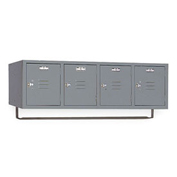 Lyon Locker DD5991CRSU Four Person Wall 45x18x13-3/4, 4 Doors Hasp Handle, Assemble Gray