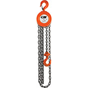 CM Series 622 Hand Chain Hoist, 1 Ton Cap., 15Ft. Lift