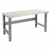 "72""W X 30""D Plastic Laminate Safety Work Bench - Adjustable Height - 1-5/8"" Top - Gray"