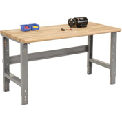 "60""W X 30""D Ash Butcher Block Safety Edge Workbench - Adjustable Height - 1 3/4"" Top - Gray"