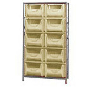Quantum QSBU-700 Shelving With 10 Giant Hopper Bins Ivory, 42x18x75