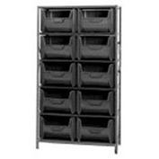 Quantum QSBU-700 Shelving With 10 Giant Hopper Bins Black, 42x18x75