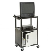 Plastic Security Audio Visual & Instrument Cart 24 x 18 x 42 Single Door