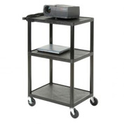 Plastic Audio Visual & Instrument Cart 32 x 24 x 48 Three Shelves