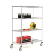 Nexelate Wire Shelf Truck 36x24x80 1200 Pound Capacity With Brakes