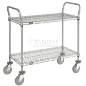 Nexelate Wire Shelf Utility Cart 36 x 18 2 Shelves 800 Lb. Capacity