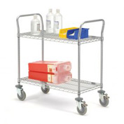 Nexelate Wire Shelf Utility Cart With Brakes 48x24 2 Shelves 800 Lb. Capacity