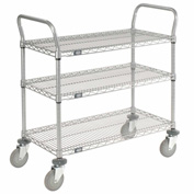 Nexelate Wire Shelf Utility Cart 48x24 3 Shelves 800 Lb. Capacity