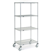 Nexel® Chrome Wire Shelf Truck 36x24x80 1200 Pound Capacity with Brakes