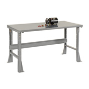 "60""W X 30""D X 34""H Steel Square Edge Workbench - Gray"