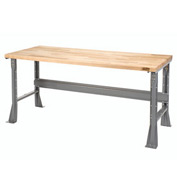 "72""W X 30""D X 34""H Maple Butcher Block Square Edge Workbench - Gray"