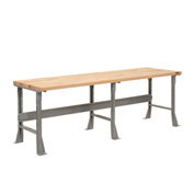 "96""W X 36""D X 34""H Maple Butcher Block Square Edge Workbench - Gray"
