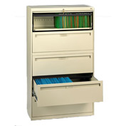 "Deluxe Fixed Front Lateral File Cabinet 42""W X 65""H - Putty"