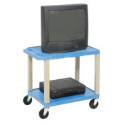 Plastic Utility Cart 2 Shelves Blue