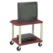Plastic Utility Cart 2 Shelves Burgundy