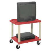 Plastic Utility Cart 2 Shelves Red