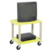 Plastic Utility Cart 2 Shelves Yellow