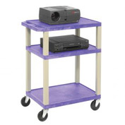 Plastic Utility Cart 3 Shelves Purple