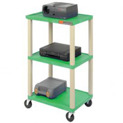 Plastic Utility Cart 3 Shelves Green