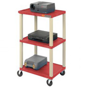 Plastic Utility Cart 3 Shelves Red