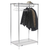 Garment Floor Rack With 12 Hangers, 2-Shelf