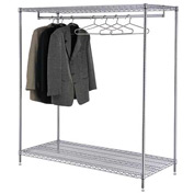 Garment Floor Coat Rack With 24 Hangers, 2-Shelf