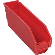"Plastic Shelf Storage Bin - Nestable 2-3/4""W x 11-5/8""D x 4""H Red - Pkg Qty 24"