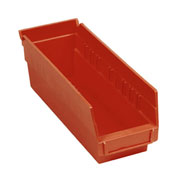 "Plastic Shelf Storage Bin - Nestable 4-1/8""W x 11-5/8""D x 4""H Red - Pkg Qty 24"