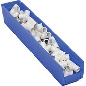 "Plastic Shelf Storage Bin - Nestable 4-1/8""W x 23-5/8"" D x 4""H Blue - Pkg Qty 12"