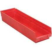 "Plastic Shelf Storage Bin - Nestable 6-5/8""W x 23-5/8"" D x 4""H Red - Pkg Qty 6"