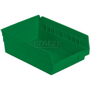 "Plastic Shelf Bin -  8-3/8""W x 11-5/8"" D x 4""H Green - Pkg Qty 12"
