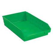 "Plastic Shelf Bin -  11-1/8""W x 17-7/8"" D x 4""H Green - Pkg Qty 12"