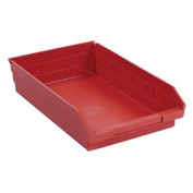 "Plastic Shelf Storage Bin - Nestable 11-1/8""W x 17-7/8"" D x 4""H Red - Pkg Qty 12"