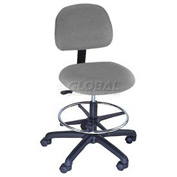 Task Stool - Vinyl - Low Back - Pneumatic - Gray