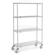 Nexel® Chrome Wire Shelf Truck 48x18x80 1200 Pound Capacity with Brakes