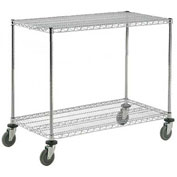 Nexel® Adjustable Chrome Wire Shelf Cart 60x24 2 Shelves 800 Lb. Capacity