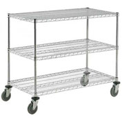 Nexel® Adjustable Chrome Wire Shelf Cart 60x18 3 Shelves 800 Lb. Capacity