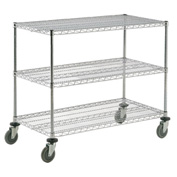 Nexel® Adjustable Chrome Wire Shelf Cart 72x24 3 Shelves 800 Lb. Capacity