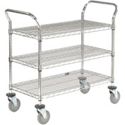 Nexel® Wire Utility Cart 36x24 3 Shelves 800 Lb. Capacity