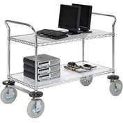 Nexel® Chrome Wire Shelf Instrument Cart 48x24 2 Shelves 1200 Lb. Capacity