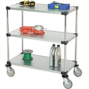 Nexel® Adjustable Solid Galvanized Shelf Cart 36x18 3 Shelves 800 Lb. Cap