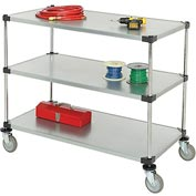 Nexel® Adjustable Solid Galvanized Shelf Cart 48x24 3 Shelves 800 Lb. Cap