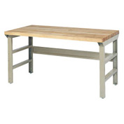 72 X 30 Maple-Butcher Block Square Edge Top Bench W/ Double Reinforced Adj Legs