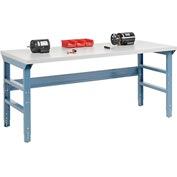 72 X 30 Plastic Laminate Square Edge Workbench W/ Double Reinforced Adj Legs- Blue