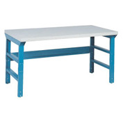 72 X 36 Plastic Laminate Square Edge Workbench W/ Double Reinforced Adj Legs- Blue